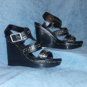 Express Studded Embellished Wedge Sandals